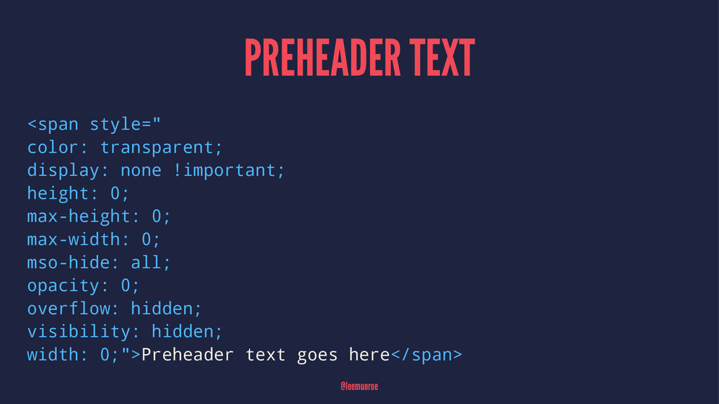 "PREHEADER TEXT <span style="" color: transparent..."