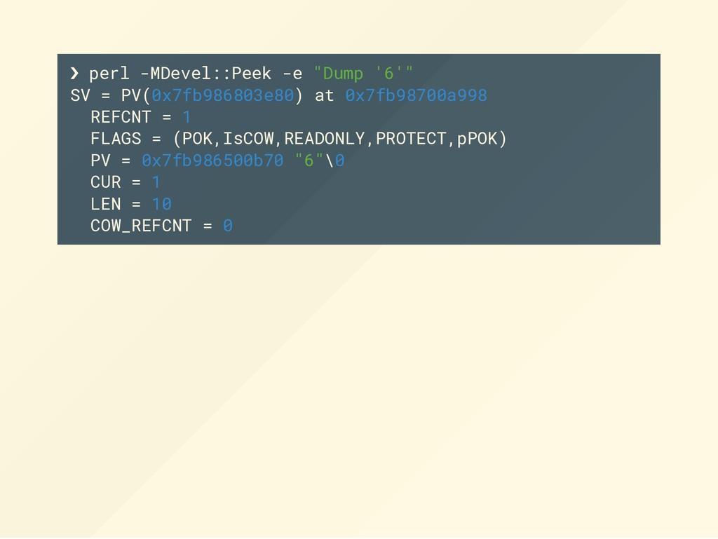 """❯ perl -MDevel::Peek -e """"Dump '6'"""" SV = PV(0x7f..."""