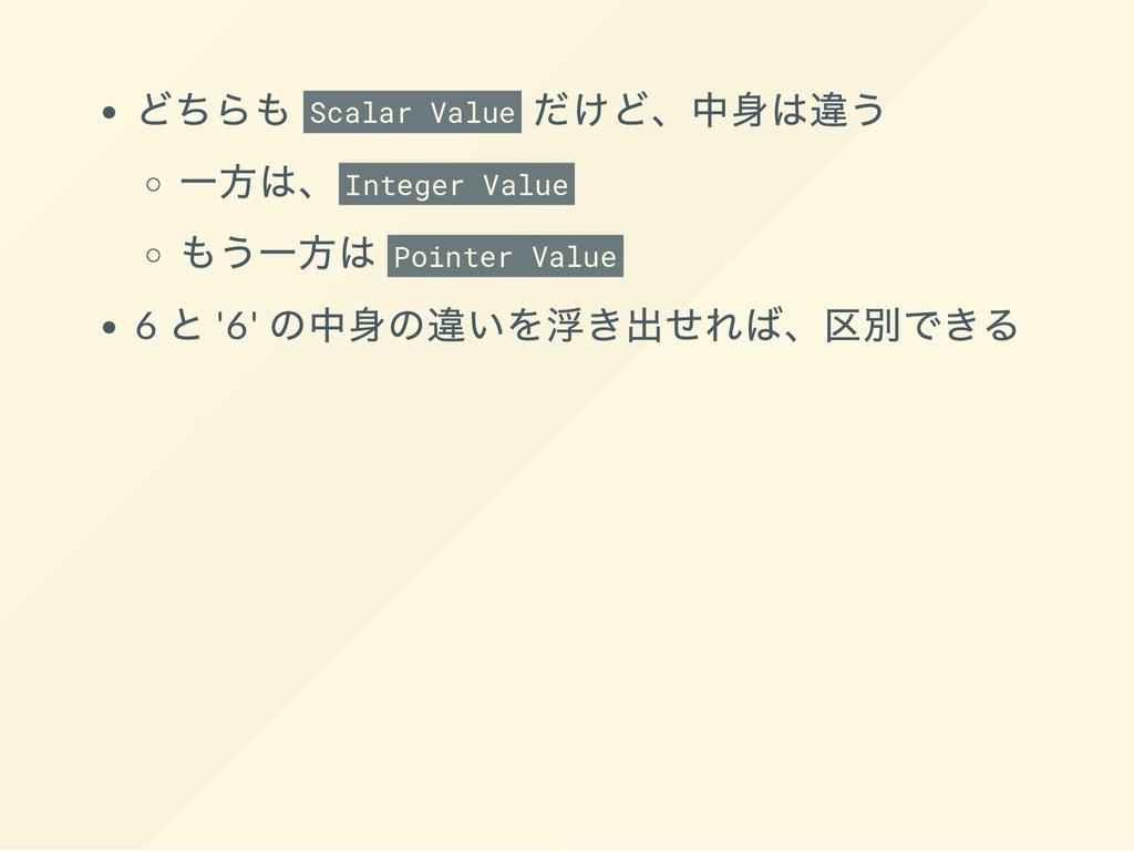 どちらも Scalar Value だけど、 中身は違う 一方は、 Integer Value...