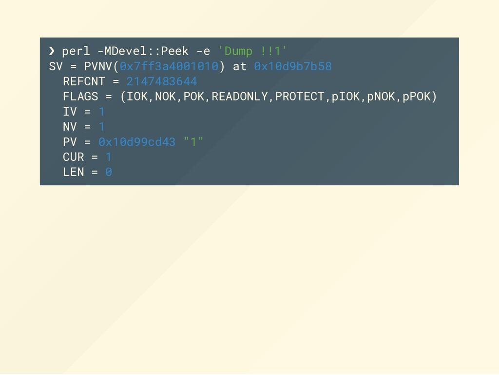 ❯ perl -MDevel::Peek -e 'Dump !!1' SV = PVNV(0x...