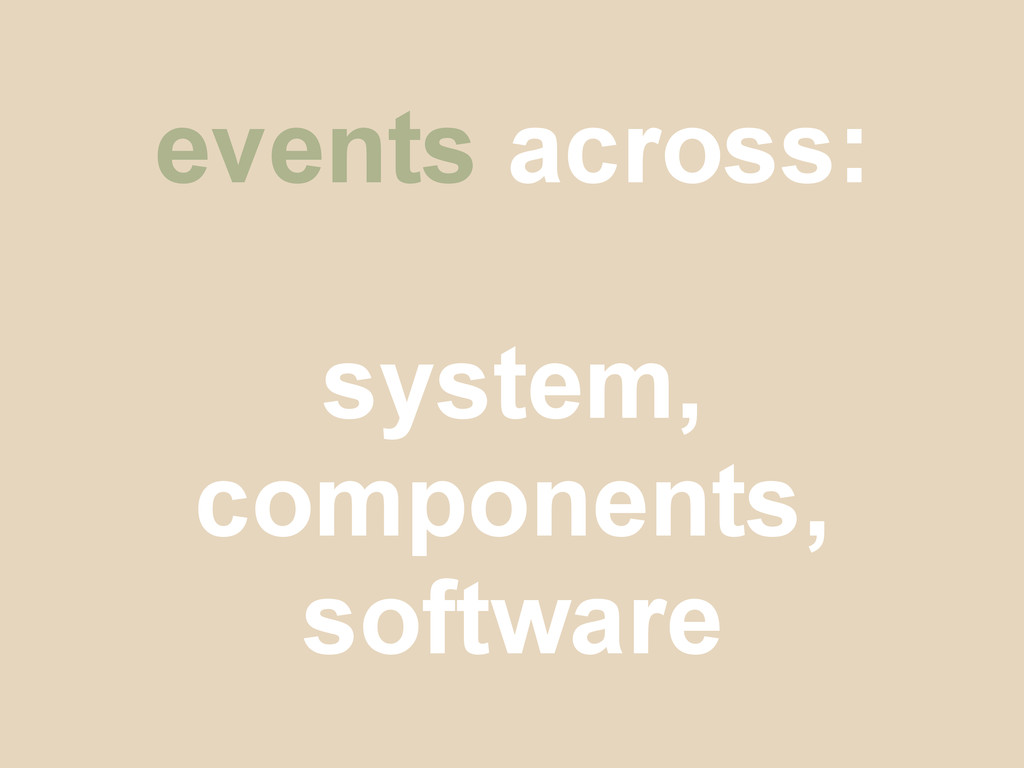 events across: system, components, software
