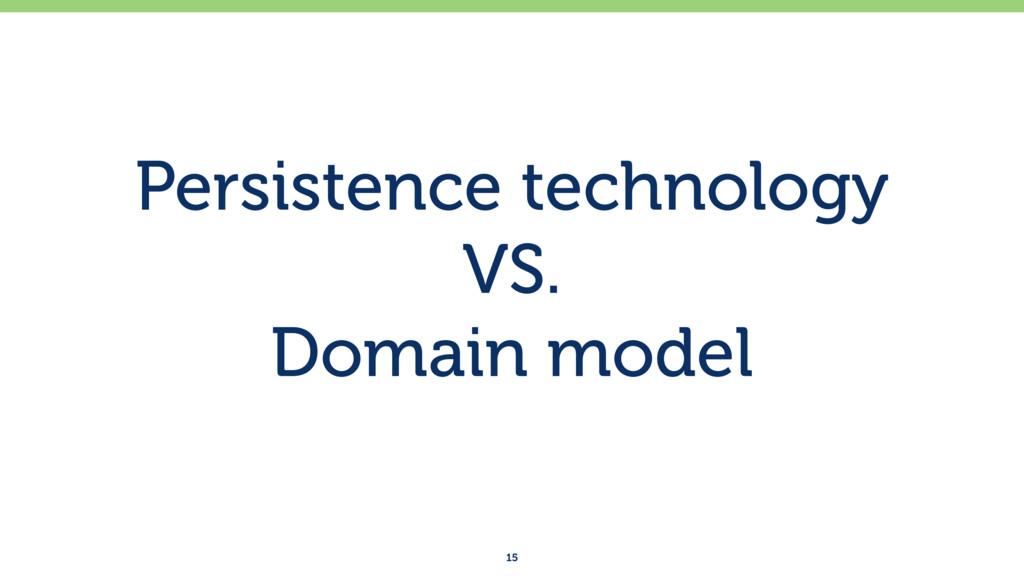 Persistence technology VS. Domain model 15