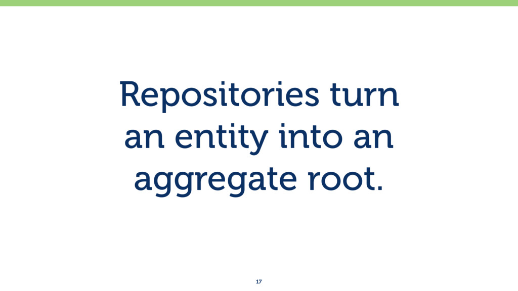 Repositories turn an entity into an aggregate ...
