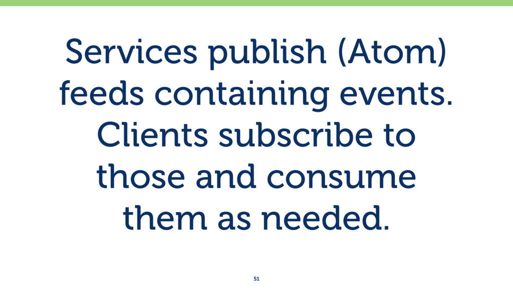 Services publish (Atom) feeds containing events...