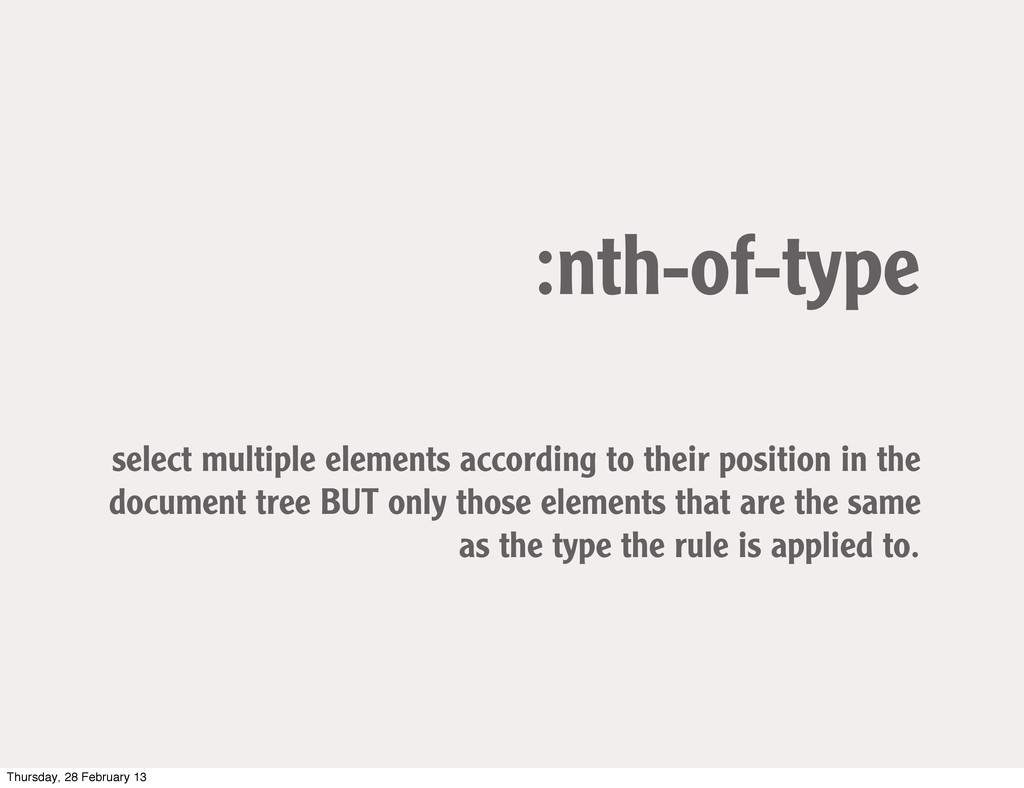 :nth-of-type select multiple elements according...