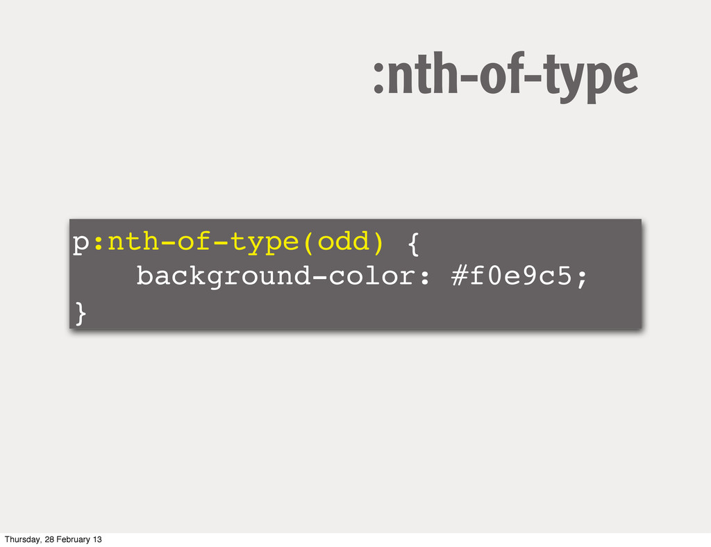 p:nth-of-type(odd) { ! ! background-color: #f0e...