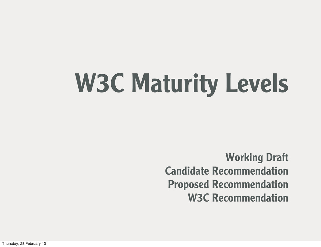 W3C Maturity Levels Working Draft Candidate Rec...