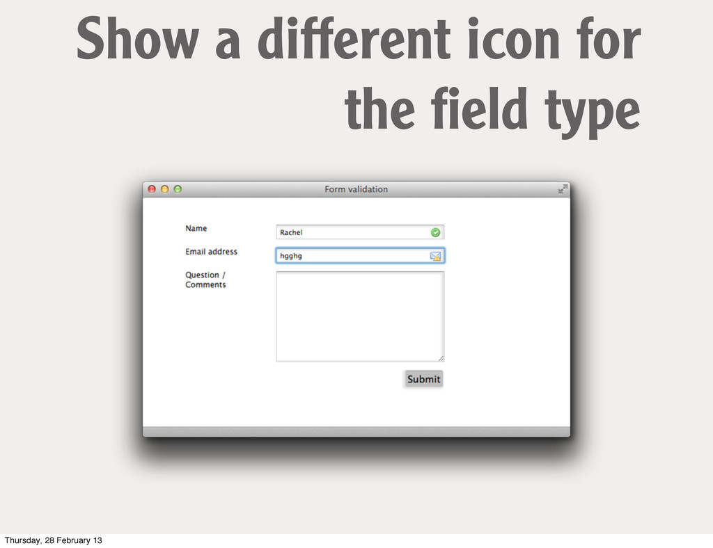 Show a different icon for the field type Thursda...