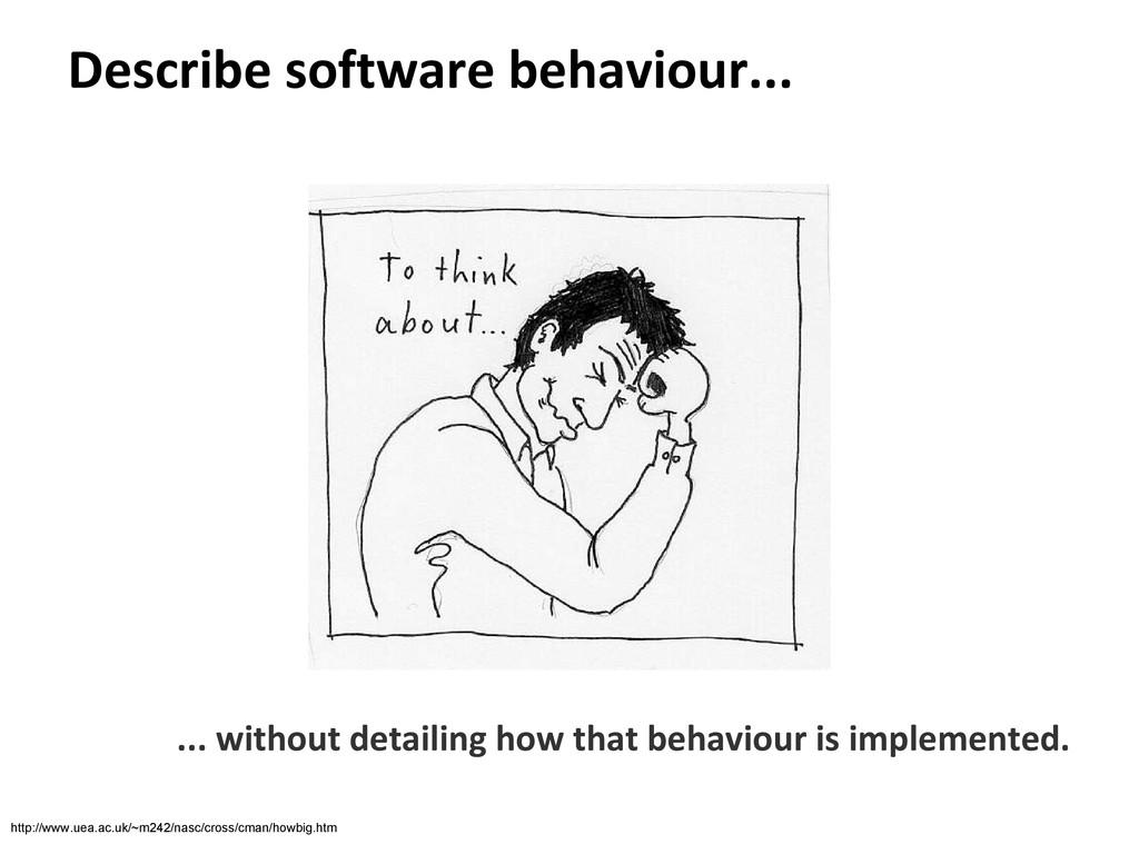 Describe software behaviour... ... without deta...