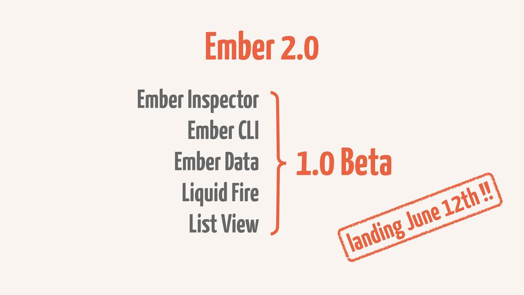 Ember 2.0 Ember Inspector Ember CLI Ember Data ...