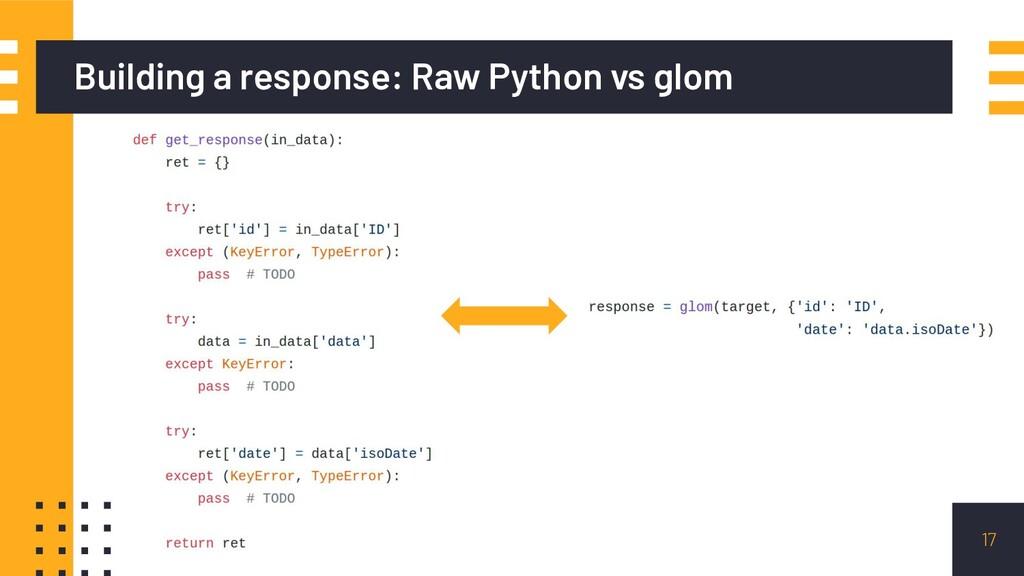 Building a response: Raw Python vs glom 17