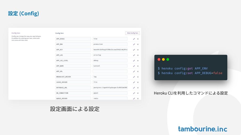 設定 (Config) 設定画⾯による設定 Heroku CLIを利⽤したコマンドによる設定