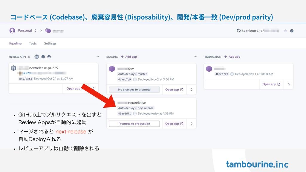 コードベース (Codebase)、廃棄容易性 (Disposability)、開発/本番⼀致...