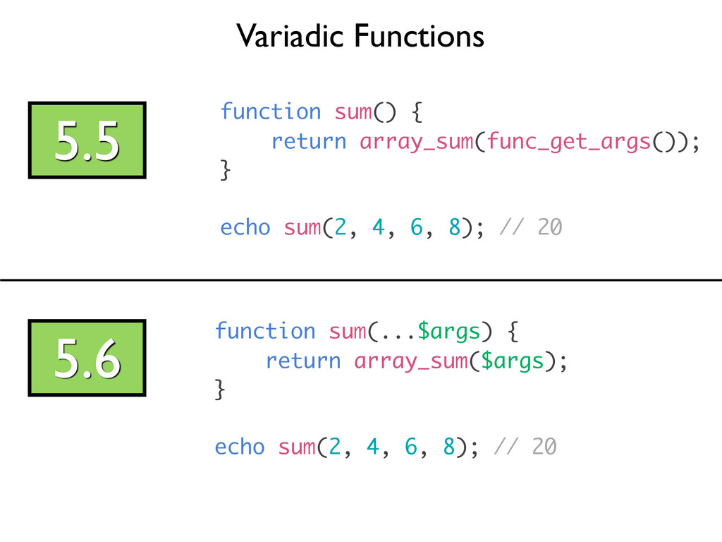 Variadic Functions 5.5 function sum() { return ...