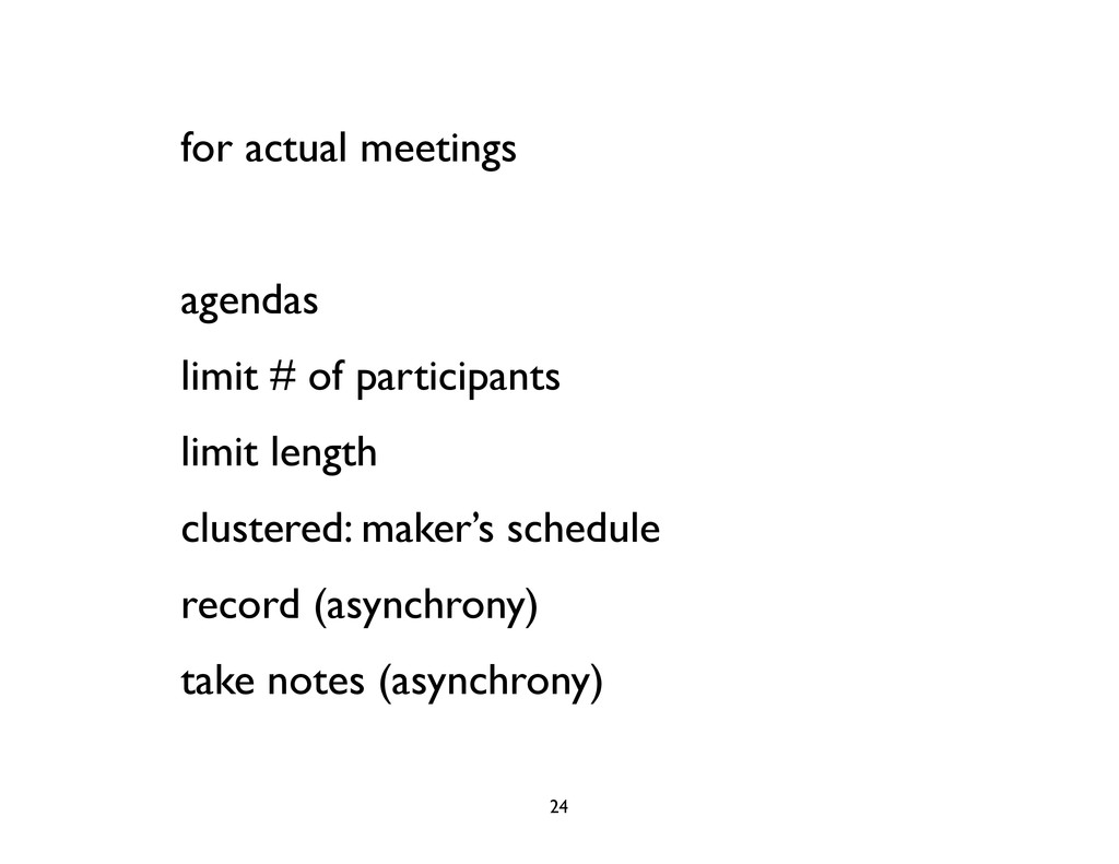 for actual meetings agendas limit # of particip...