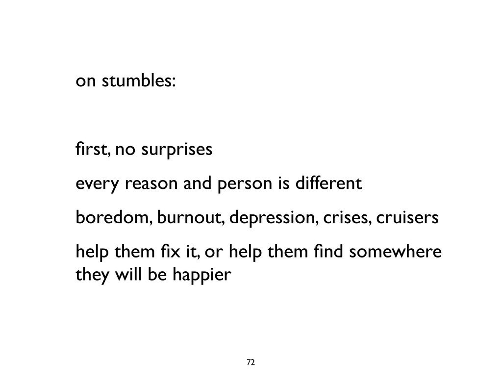 on stumbles: first, no surprises every reason an...
