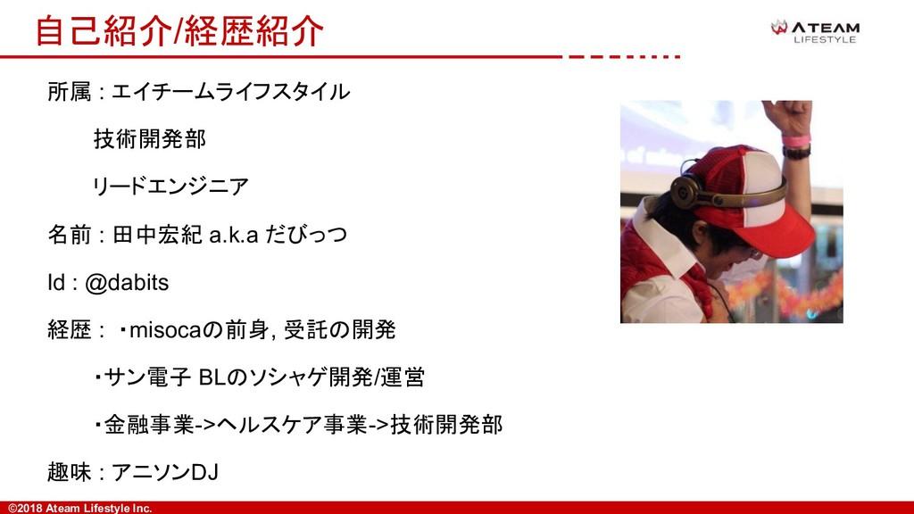 ©2018 Ateam Lifestyle Inc. 自己紹介/経歴紹介 所属 : エイチーム...