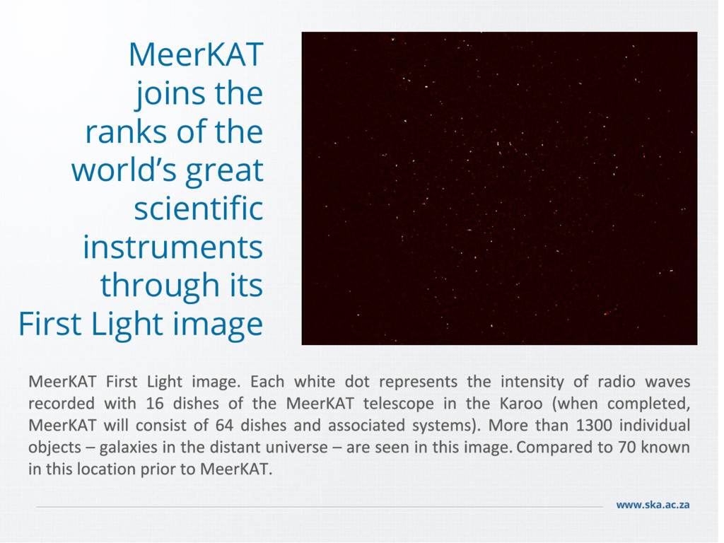 www.ska.ac.za MeerKAT joins the ranks of the wo...