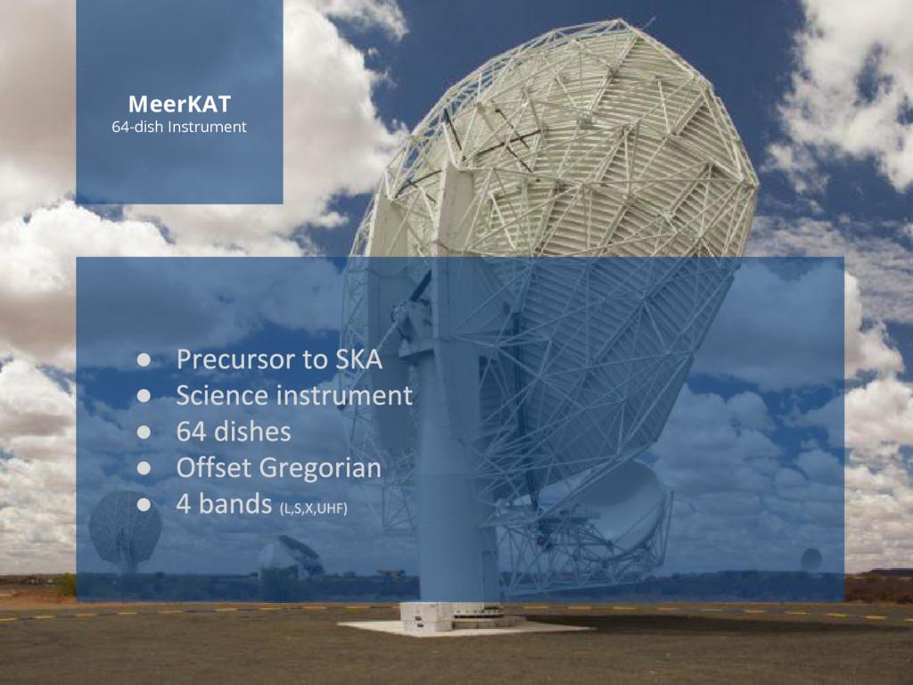 www.ska.ac.za MeerKAT 64-dish Instrument ● ● ● ...