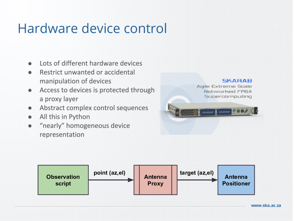 www.ska.ac.za Hardware device control Observati...