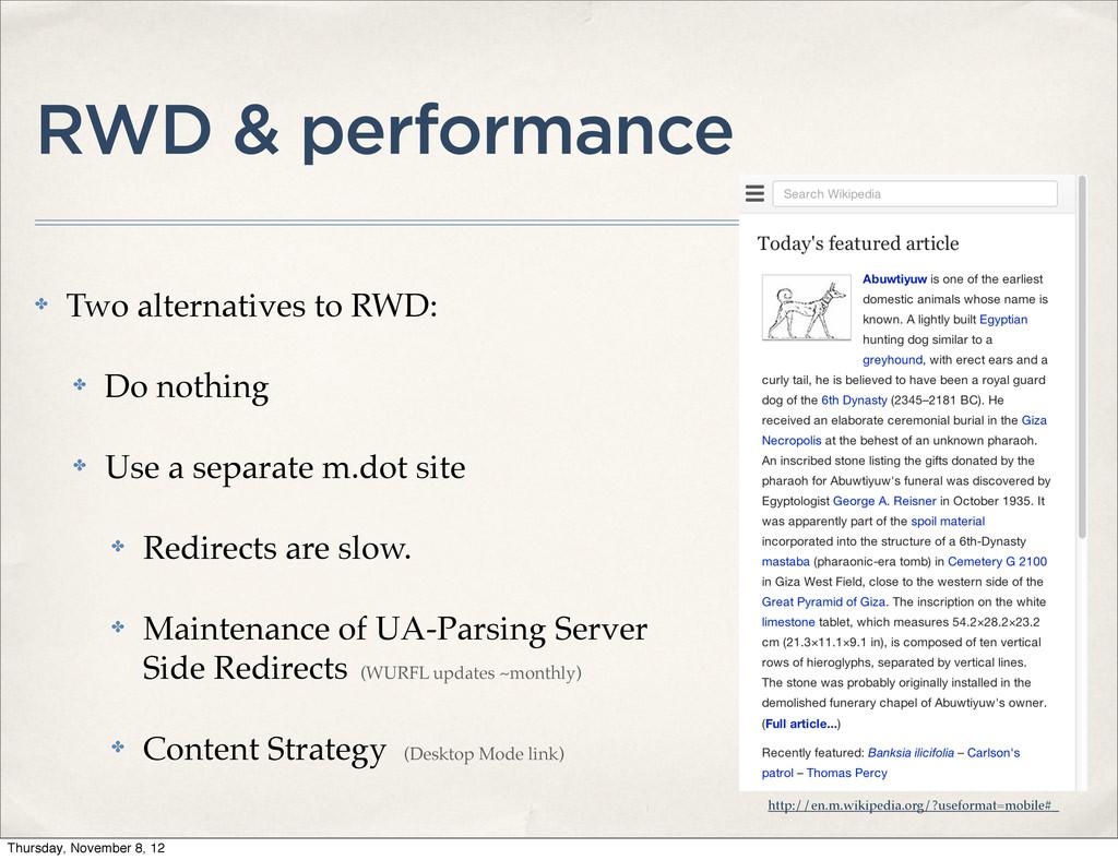 RWD & performance ✤ Two alternatives to RWD: ✤ ...