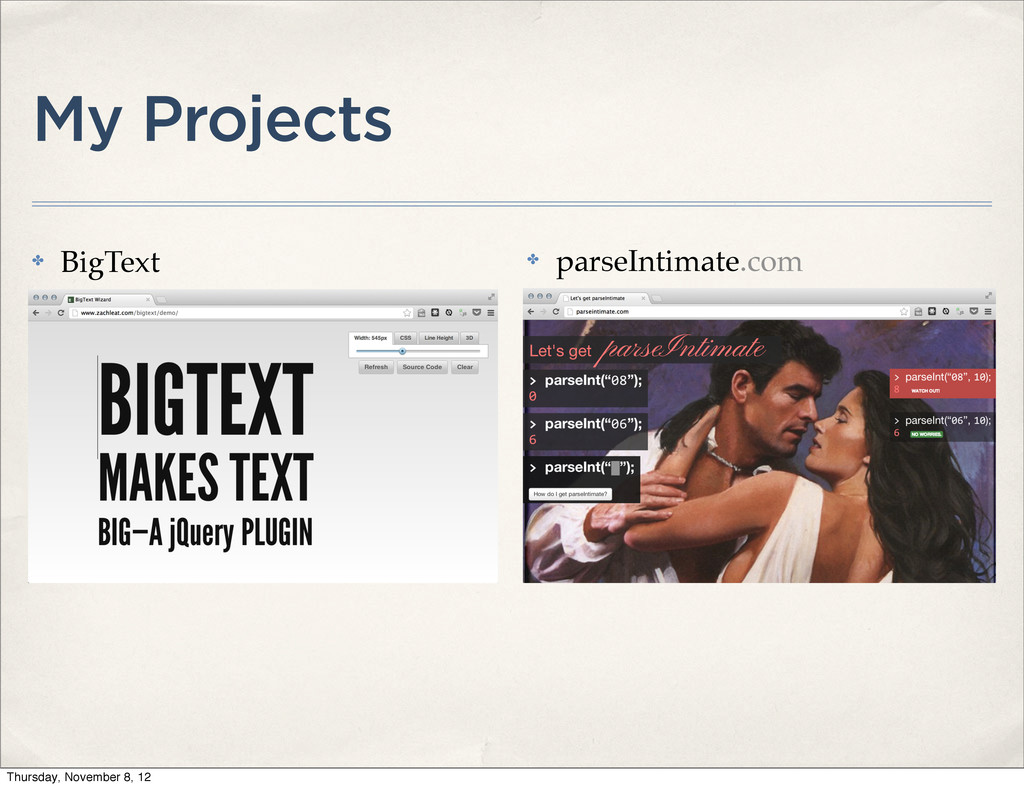 My Projects ✤ BigText ✤ parseIntimate.com Thurs...