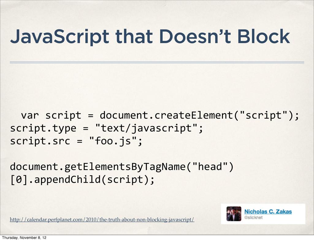 JavaScript that Doesn't Block var script ...