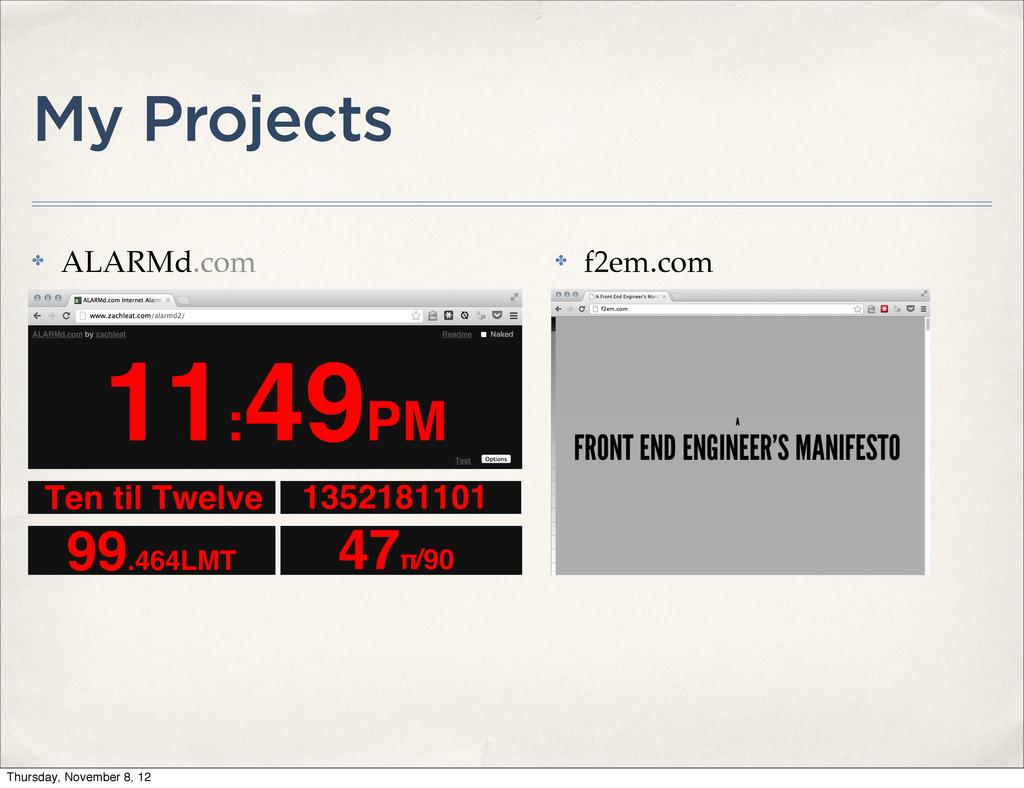 My Projects ✤ ALARMd.com ✤ f2em.com Thursday, N...