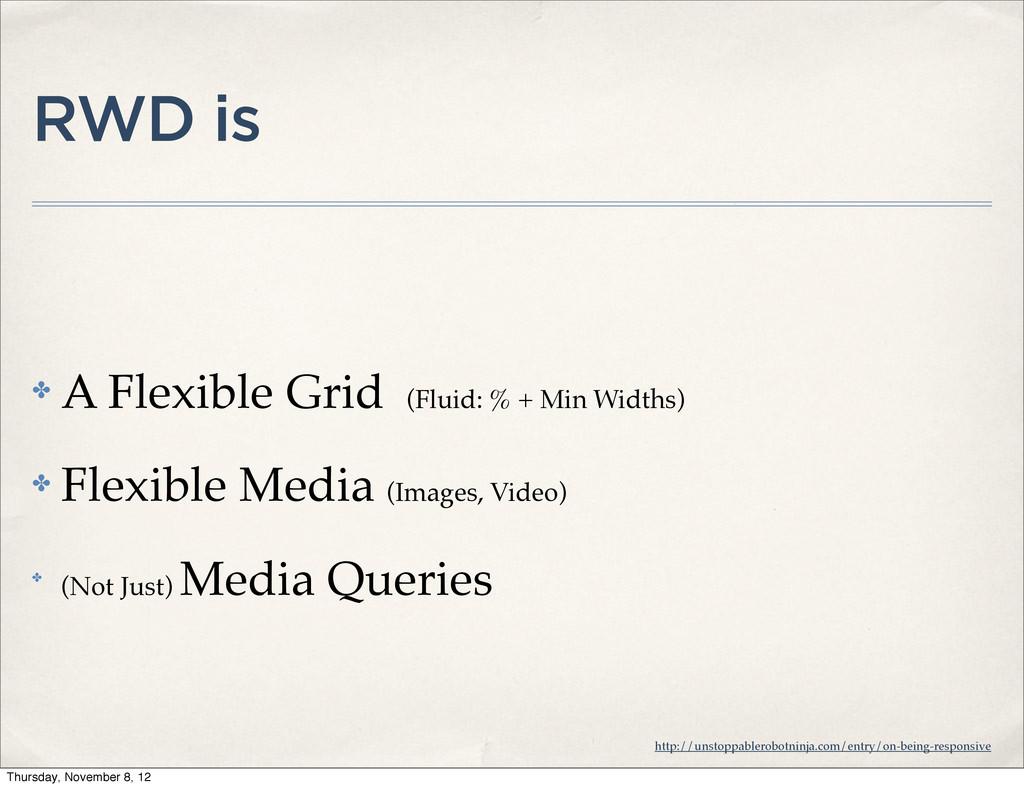 RWD is ✤ A Flexible Grid (Fluid: % + Min Widths...