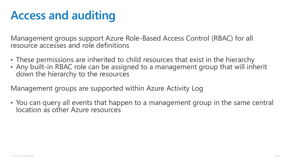 Access and auditing Management groups support A...