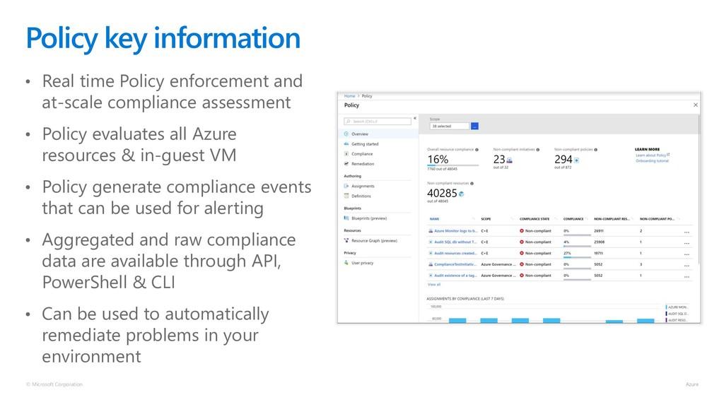 © Microsoft Corporation Policy key information ...