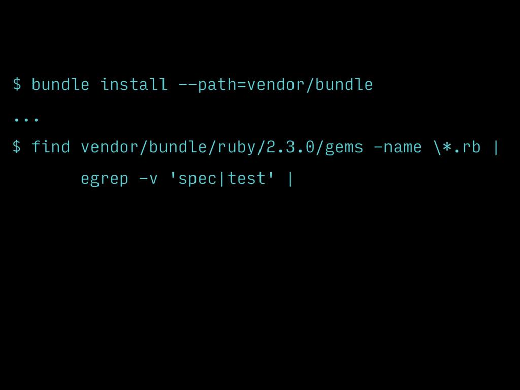 $ bundle install --path=vendor/bundle ... $ fin...