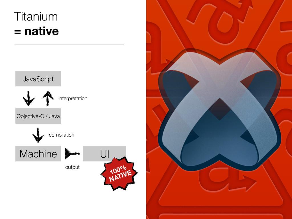 Titanium = native JavaScript UI output Machine ...