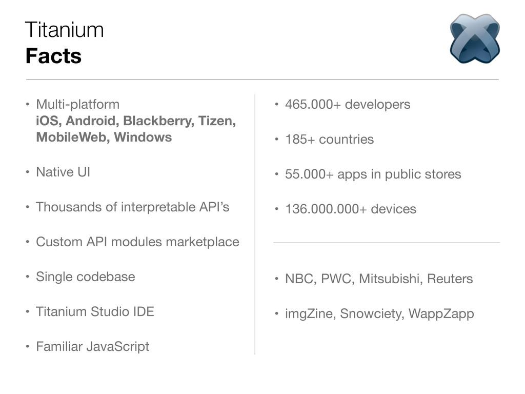 Titanium Facts • Multi-platform iOS, Android, B...