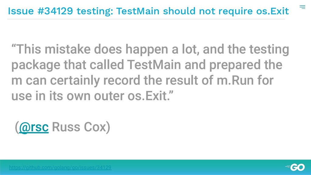 Issue #34129 testing: TestMain should not requi...