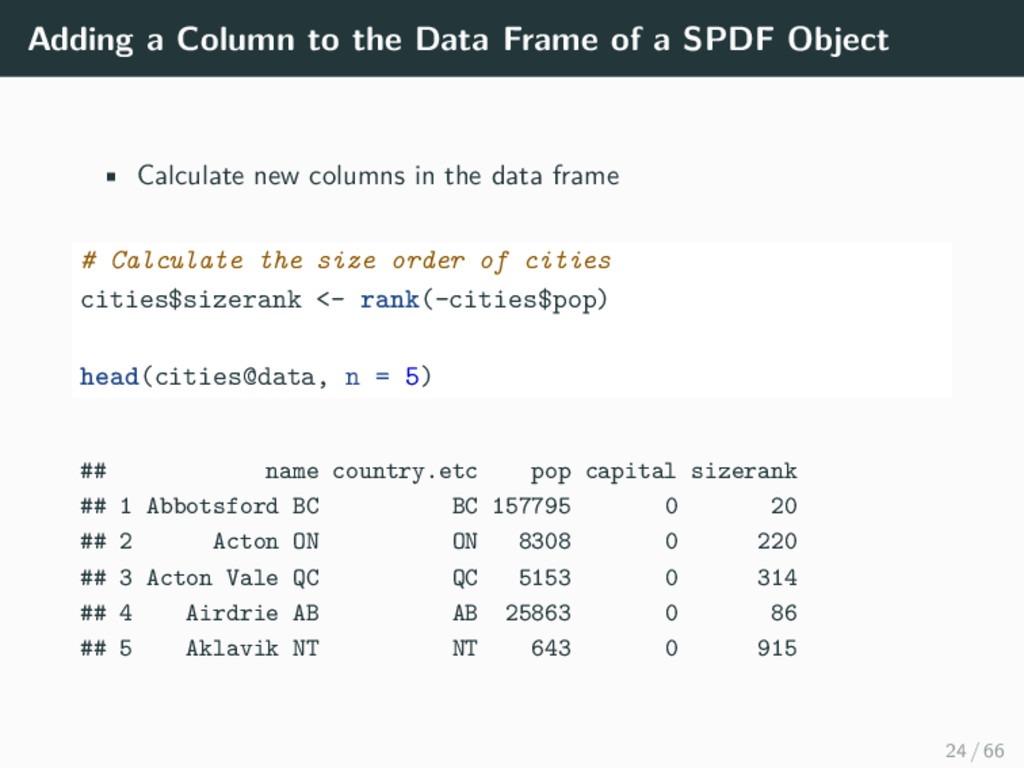 Adding a Column to the Data Frame of a SPDF Obj...