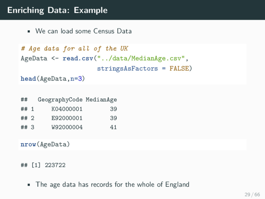 Enriching Data: Example • We can load some Cens...