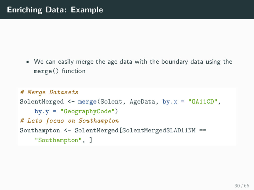 Enriching Data: Example • We can easily merge t...