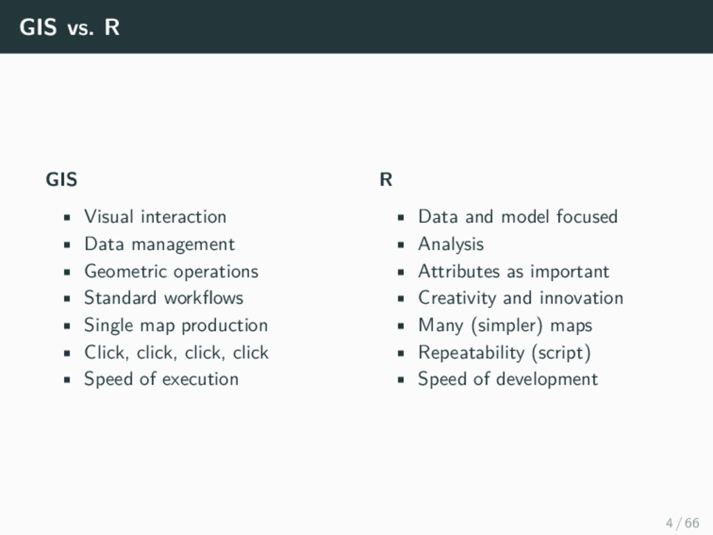 GIS vs. R GIS • Visual interaction • Data manag...