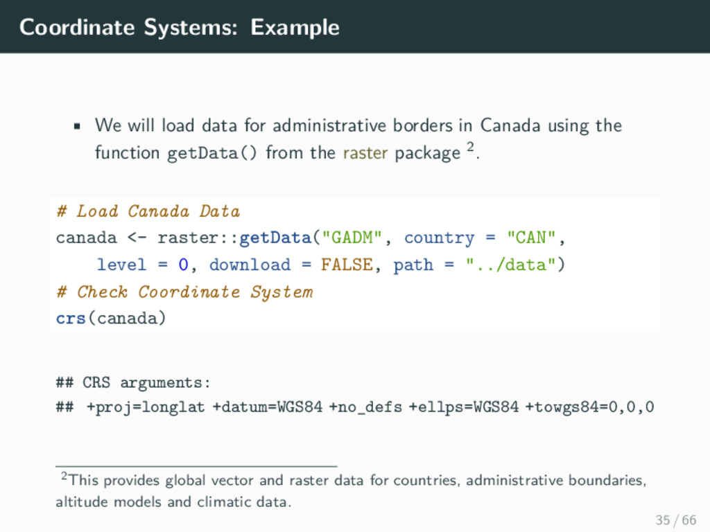 Coordinate Systems: Example • We will load data...