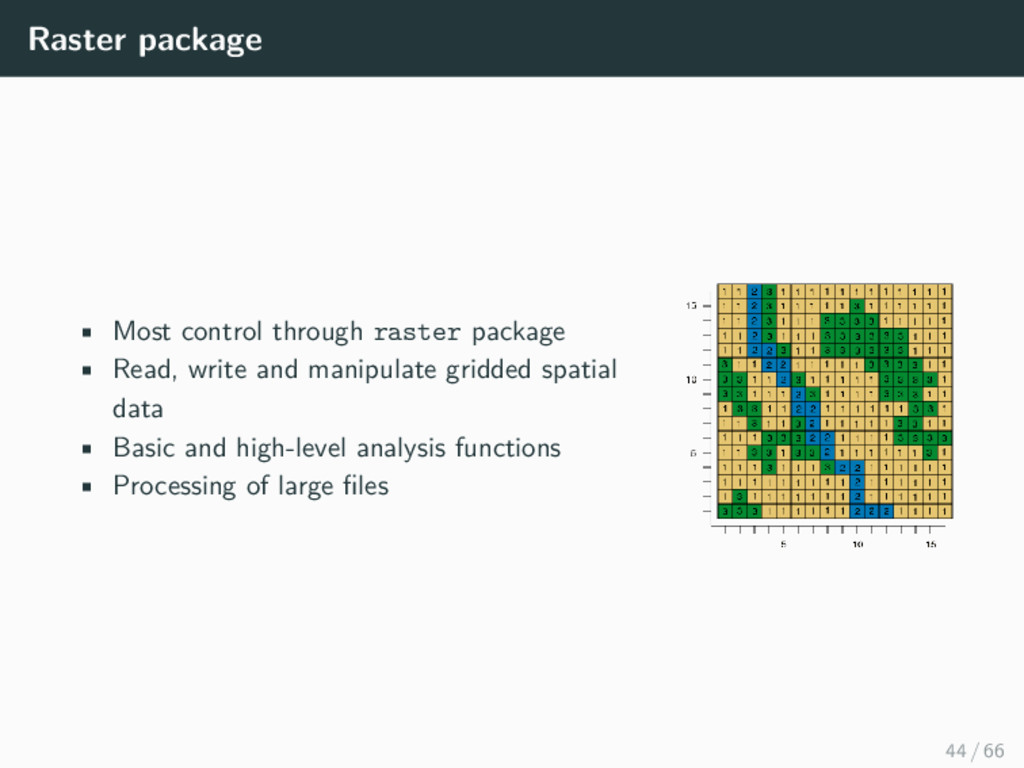Raster package • Most control through raster pa...