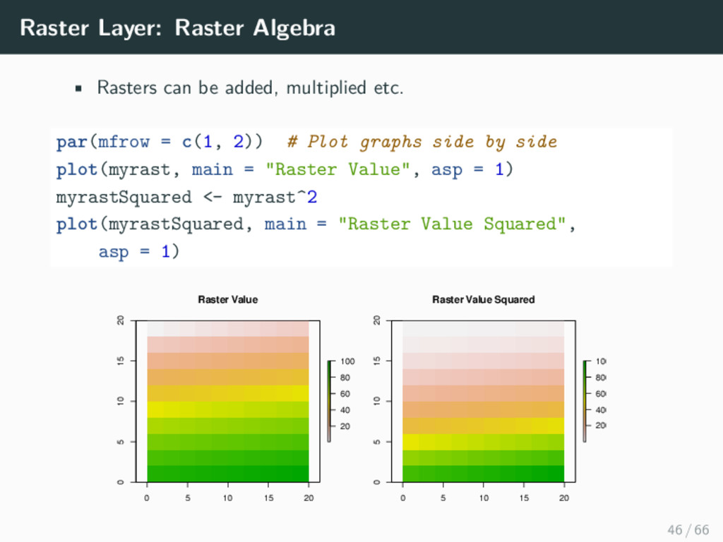 Raster Layer: Raster Algebra • Rasters can be a...