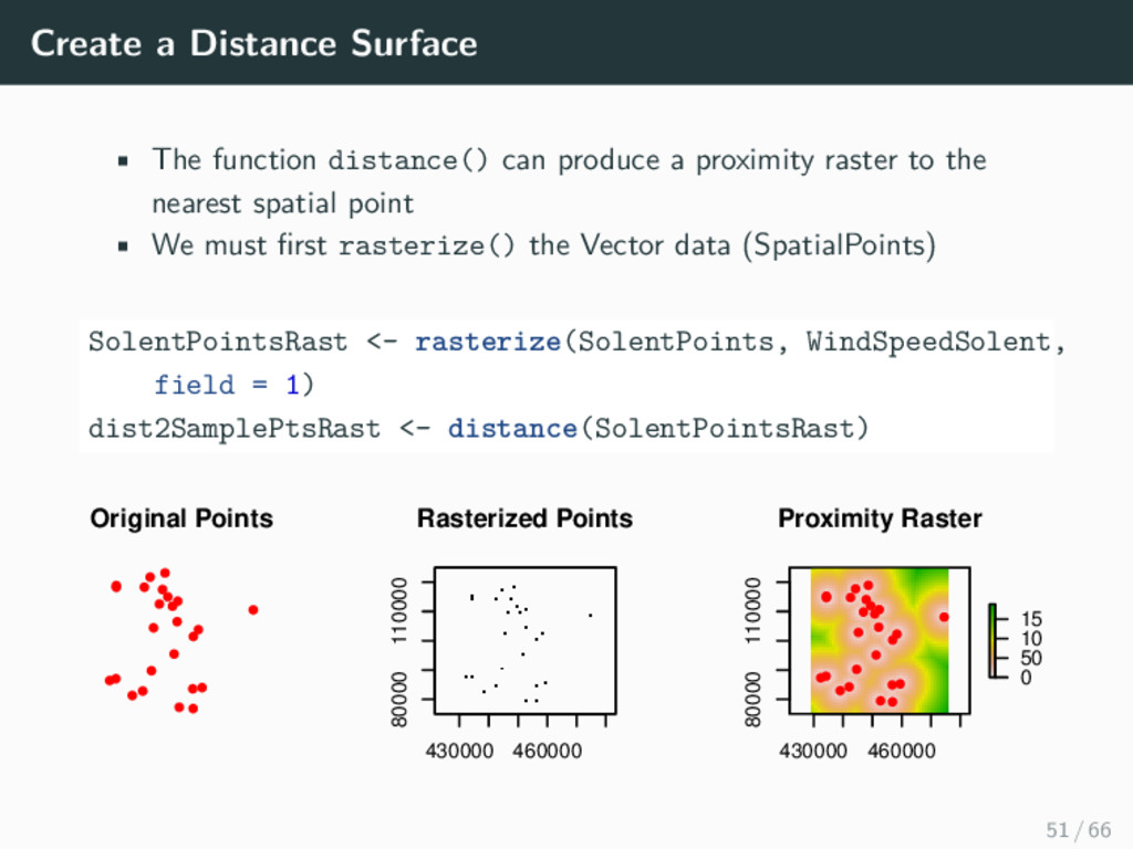 Create a Distance Surface • The function distan...