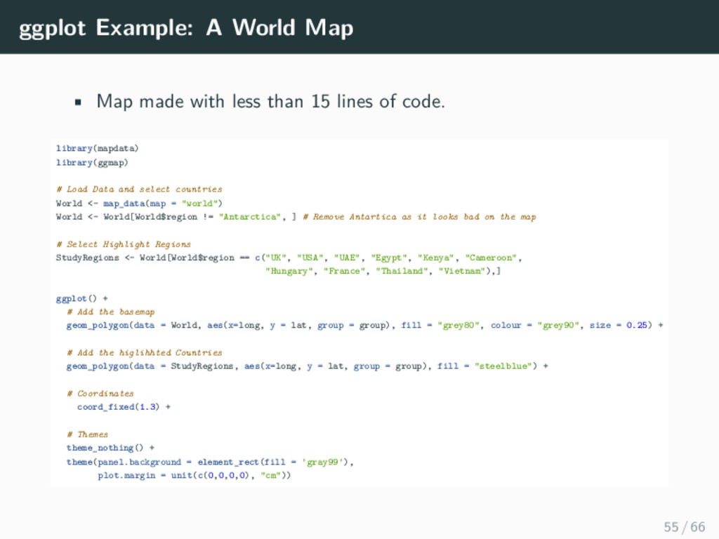 ggplot Example: A World Map • Map made with les...