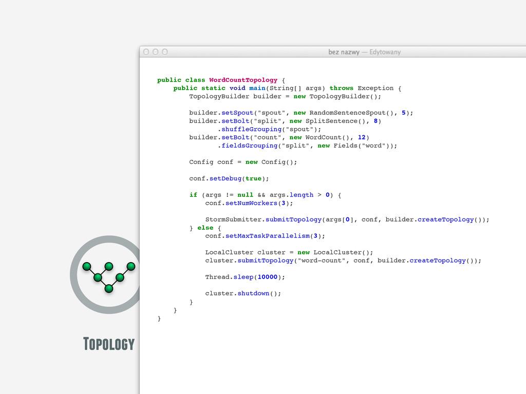 Topology public class WordCountTopology { publi...