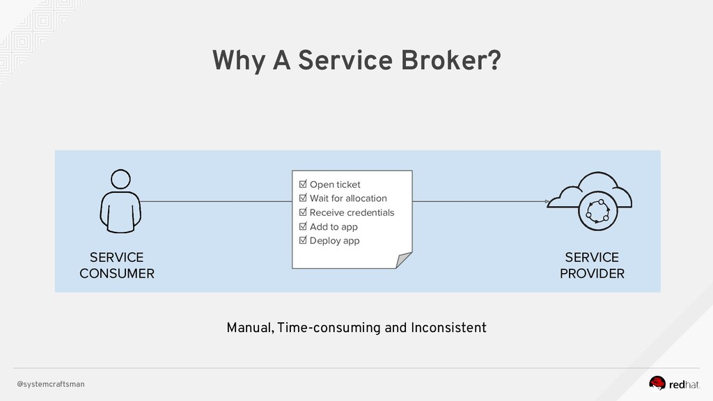 @systemcraftsman Why A Service Broker? SERVICE ...