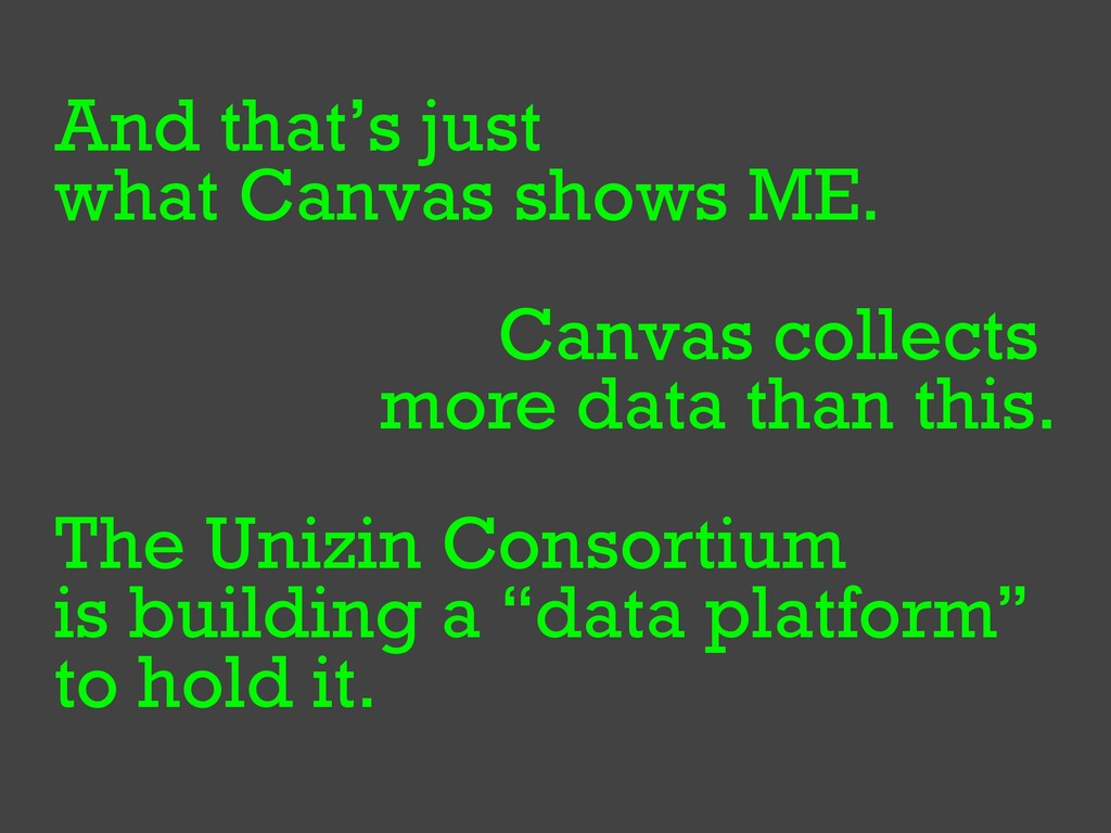 And that's just   what Canvas shows ME.   Canva...