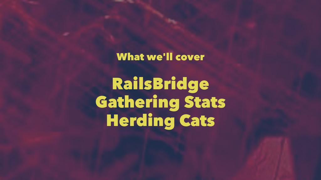What we'll cover RailsBridge Gathering Stats He...