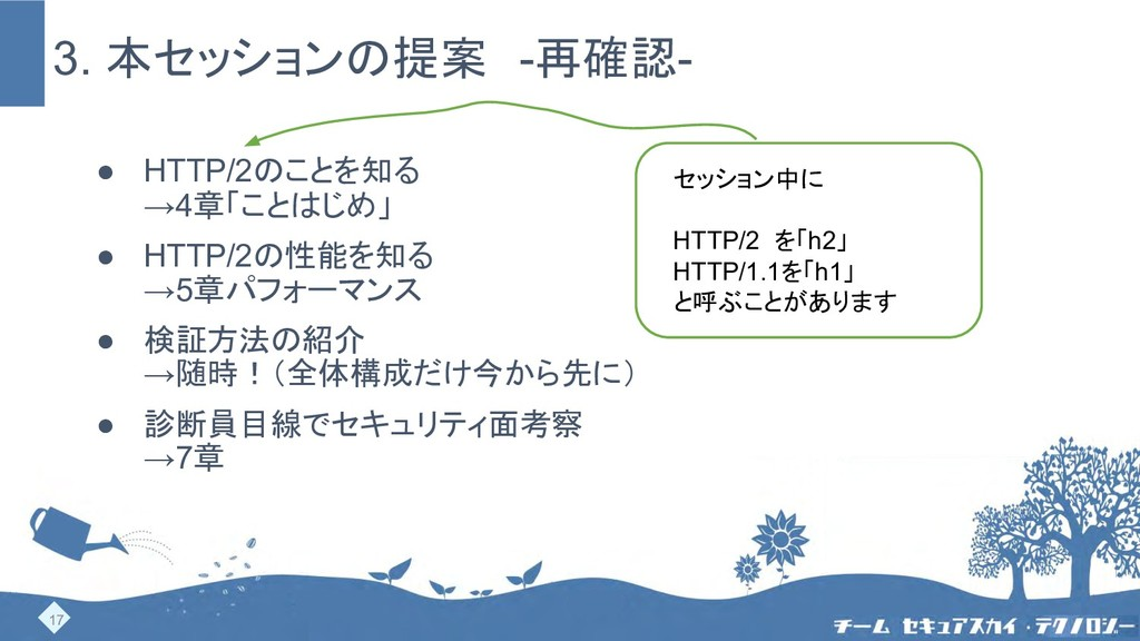 3. 本セッションの提案 -再確認- ● HTTP/2のことを知る →4章「ことはじめ」 ● ...
