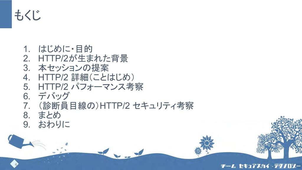 もくじ 1. はじめに・目的 2. HTTP/2が生まれた背景 3. 本セッションの提案 4....
